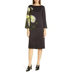 Dries Van Noten Domar Dahlia Print Dress Black